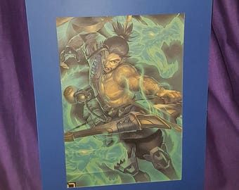 Overwatch Hanzo mounted poster
