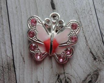 Pink enamel silver Butterfly 21.5x21 mm charm