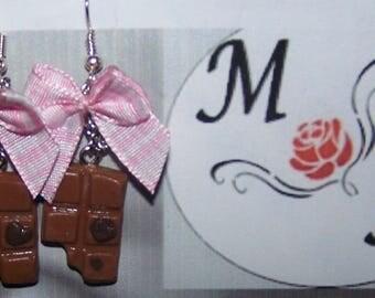 Earrings mini chocolate bar