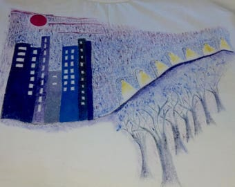 Blue Bayou  Hand painted, Numbered and signed. Oil colors on cotton t-shirt. Size Medium