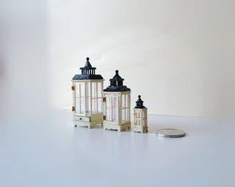 3 Vintage miniature candle light