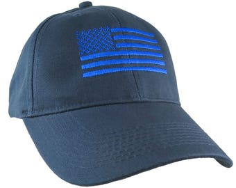 An American US Flag Royal Embroidery on an Adjustable Structured Adjustable Navy Baseball Cap with Options to Personalize the Side and Back