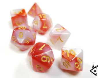 """DnD Dice Set - Red, White, Gold - """"Wendigo's Anger"""" D&D dice, RPG dice, Polyhedral dice, Dungeons and Dragons, Pathfinder, Critical Role"""