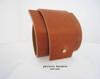 Tan - Brown thick leather Cuff Bracelet