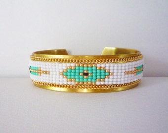 """Cuff Bracelet """"Eya"""" weaving seed beads on brass"""