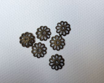 bronze bead caps 0.9 cm set of 10