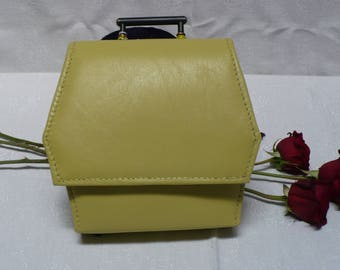 Hand-made Yellow Hexagonal Clutch