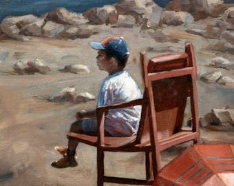 Oceanside Boy Oil Painting, Lifeguard Beach Painting, Original Oils, Realistic Sunny Painting, Rocky Beach Art, Summer Day Artwork