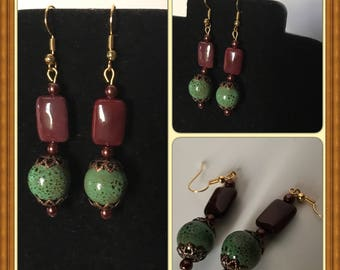 Handmade Glass Bead Earrings Dark Brown and Green