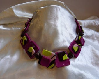 PINK PURPLE GREEN BROWN PORCELAIN BEADS CHOKER NECKLACE