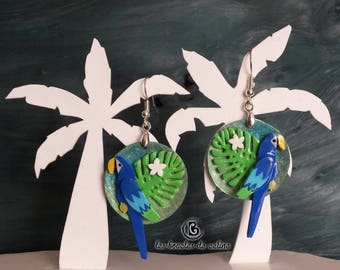 Earrings: Blue macaws parrots