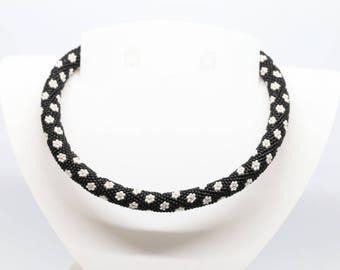 Spiral Choker necklace made with Miyuki seed beads