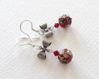 Small red earrings romantic Chinese beads