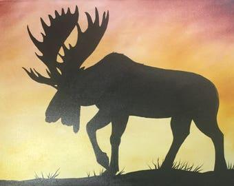 Oil Moose Painting