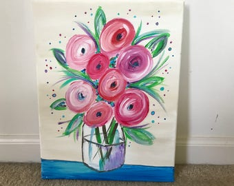Acrylic Whimsical Flowers in Vase on Canvas