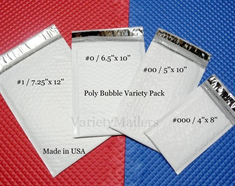 8 Poly Bubble Padded Envelope Mailer Variety ~ 4 Size Assortment ~ Made in USA!   Free Shipping!