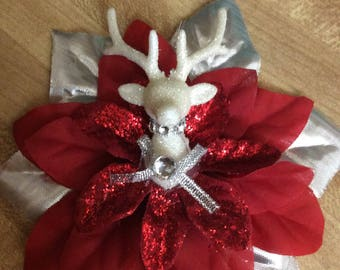 Reindeer Xmas Hair Flower Clip Rockabilly Pinup Christmas