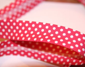 18MM FUCHSIA POLKA DOT POLYCOTTON BIAS AND WHITE