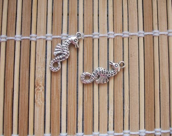 2 silver metal seahorse charms