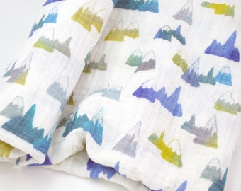 "Muslin Swaddle Blanket in Mountain - made from 100% cotton double gauze - 45"" square"