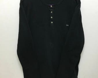Rare!!! Lee Long Sleeve Pullover Small Spellout Embroidered Buttons Up