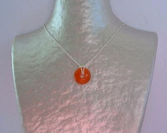 Donuts stone carnelian and silver chain necklace