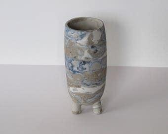Nerikomi stoneware footed vase