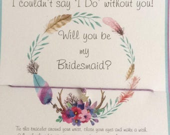 Bridesmaid gifts, Will you be my bridesmaid, bridesmaid  thank you gifts, bridesmaid presents, bridesmaid  Wish Bracelets