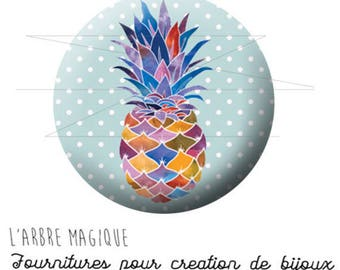 Cabochon 25 mm pineapple fruit fantasy exotic ref 1737