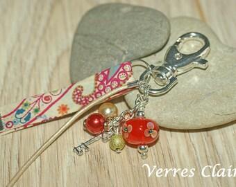 """Keychain / bag charm orange """"Liberty Mark"""""""