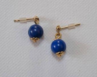 Blue gem stone earrings