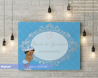 Royal prince poster, babyshower, first birthday poster, cute vintage baby, multiple skin tones, printable