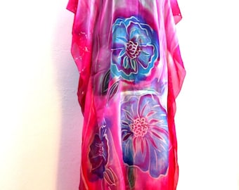 Floral Silk Hand Painted Tunic Kaftan ООАК  silk HandPainted Kaftan purle Floral Silk Tunic Gift For Her art Blue floral tunic Purle