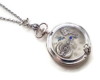 The Moon steampunk watch pendant necklace