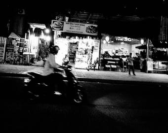 Nha Trang Street Vietnam, Motorbike in Black and White Instant Digital Download  Personal or Commercial Use