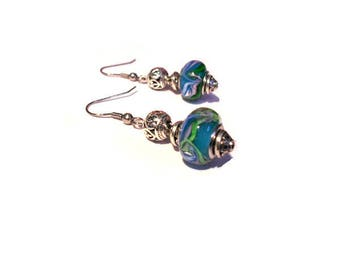 Retro earrings, colored beads blue waves patterns
