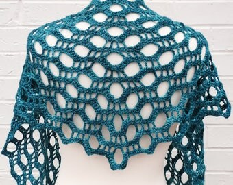 Crochet Lace Shawl - Teal Blue Green - Summer Party Variegated Pink Shawlette - Knitted Shoulder Festival Long Scarf - Girls Beach Knit Wrap