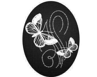 30x40mm, 2 papillons blanc fond noir