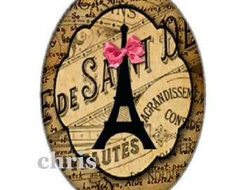 cabochon Paris, 18x25mm, eiffel tower and black bow