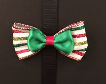 Holiday Glitter Striped Bow