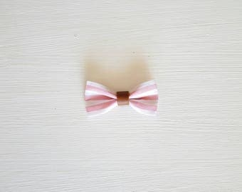 Large bow hair clip style camel and pink striped sailor
