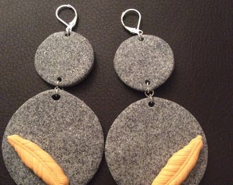Earrings double circles and feather!