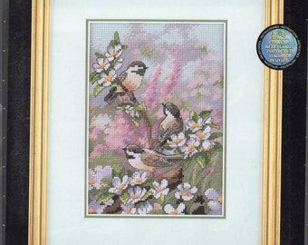Chickadees in Spring Gold Collection Petites Counted Cross Stitch Kit