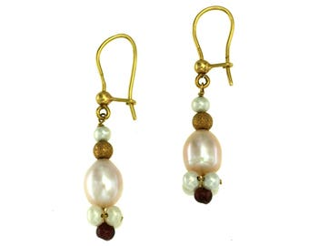 18 kt yellow gold earrings. with Baroque pearls Scaramazze Pearls and garnets, handmade crafts, Gemstone Pendants
