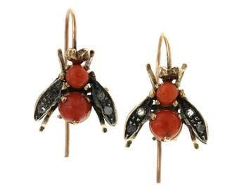 9 carat rose gold earrings Red coral and diamonds in the shape of Bees, pendants, earrings, handmade Antique Style Bird Flies