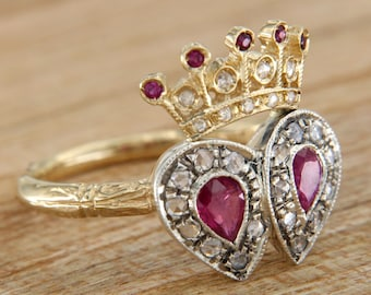 Yellow gold ring with diamonds and rubies, crown Queen Empress Ring, King ring made by hand monarchy, Italian jewelry