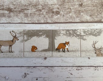 Handmade Set Of 4 Ceramic Coasters Stag Fox Squirrel Drinks Mats Mugs Home Decor Housewarming Gift Christmas Present Shabby Chic Country