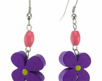 Earrings dangling hippie flower power very light purple and pink wood