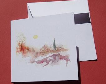"""Greeting card art """"Mountain Village"""""""