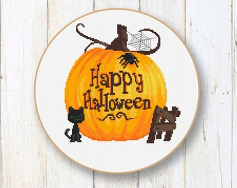 Happy Halloween Cross Stitch Pattern, Black Cat Cross Stitch Pattern, Halloween Patterns, Halloween Gift, Halloween Home Décor #hl004